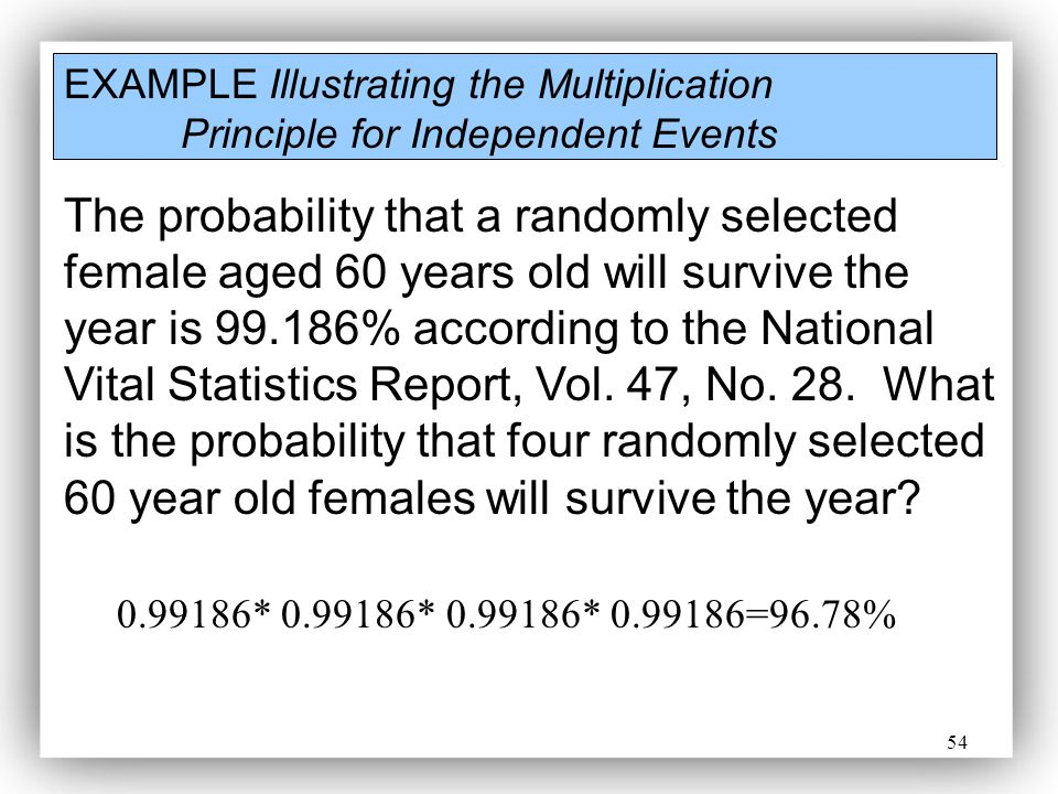 54 EXAMPLE Illustrating the Multiplication Principle for Independent Events The probability that a randomly selected female aged 60 years old will sur