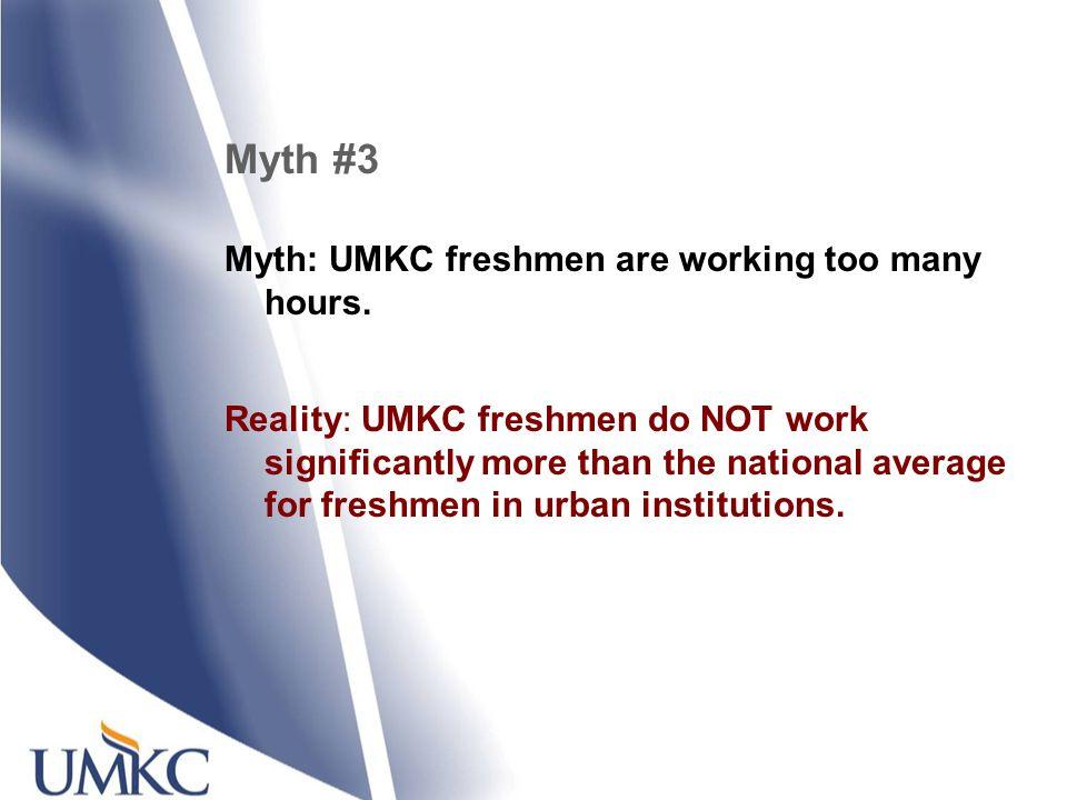 Myth #3 Myth: UMKC freshmen are working too many hours.