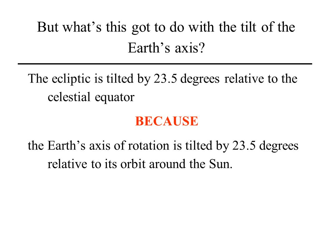 But whats this got to do with the tilt of the Earths axis.