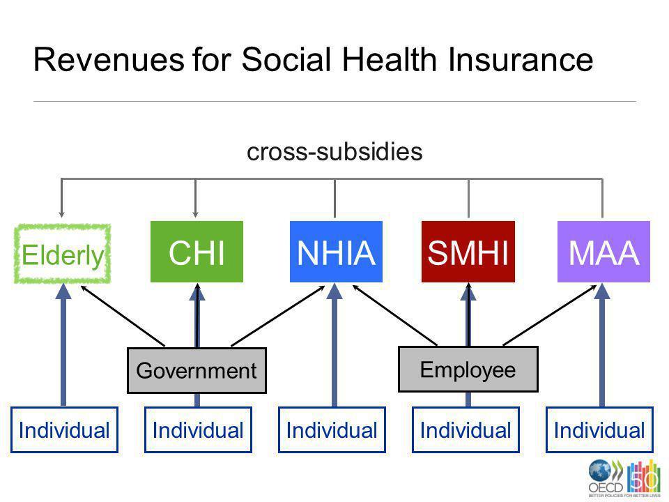 Revenues for Social Health Insurance CHINHIASMHIMAA Individual Elderly EmployeeGovernment cross-subsidies Individual