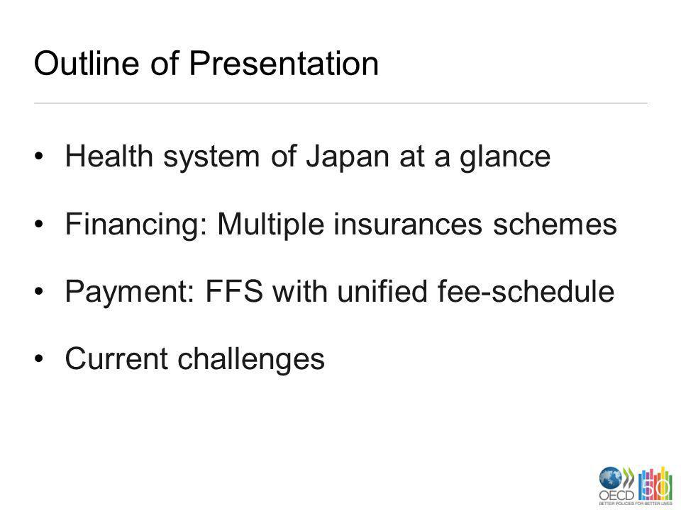 Outline of Presentation Health system of Japan at a glance Financing: Multiple insurances schemes Payment: FFS with unified fee-schedule Current chall