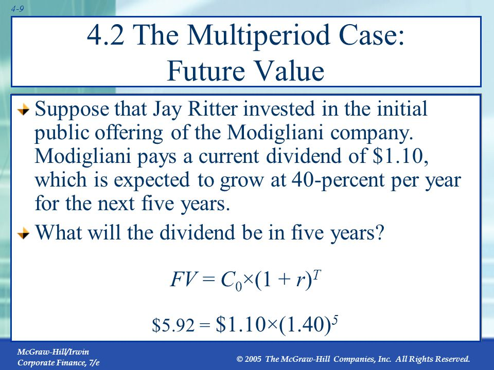 McGraw-Hill/Irwin Corporate Finance, 7/e © 2005 The McGraw-Hill Companies, Inc. All Rights Reserved. 4-9 4.2 The Multiperiod Case: Future Value Suppos
