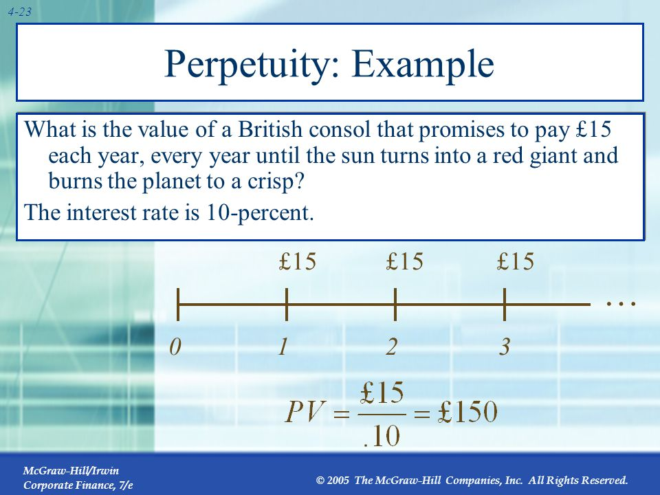 McGraw-Hill/Irwin Corporate Finance, 7/e © 2005 The McGraw-Hill Companies, Inc. All Rights Reserved. 4-23 Perpetuity: Example What is the value of a B