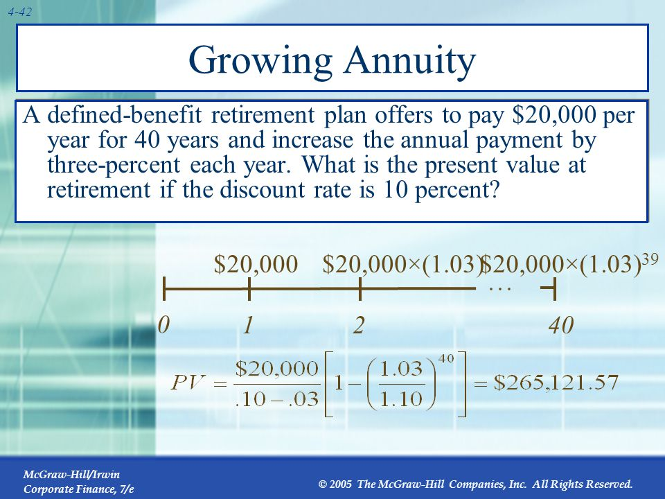 McGraw-Hill/Irwin Corporate Finance, 7/e © 2005 The McGraw-Hill Companies, Inc. All Rights Reserved. 4-42 Growing Annuity A defined-benefit retirement