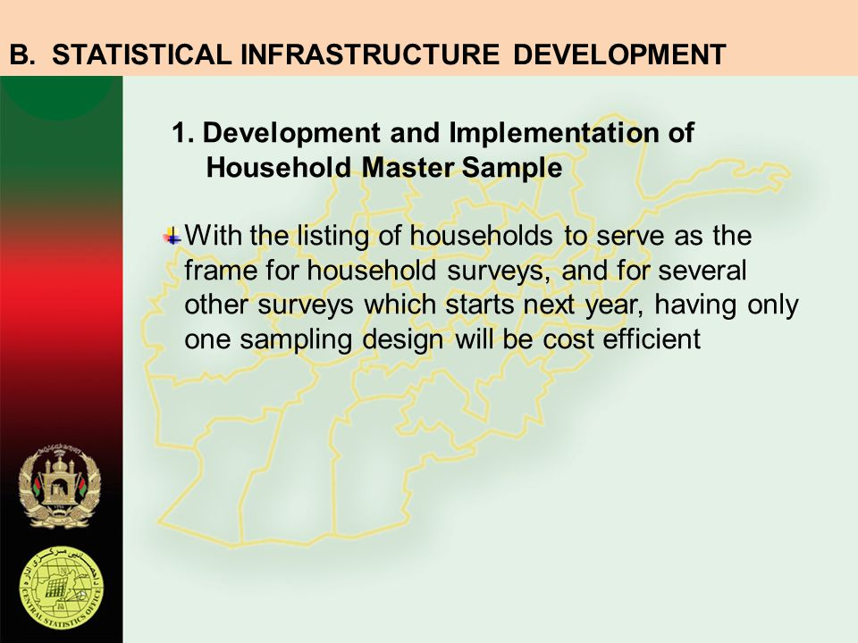 1. Development and Implementation of Household Master Sample With the listing of households to serve as the frame for household surveys, and for sever