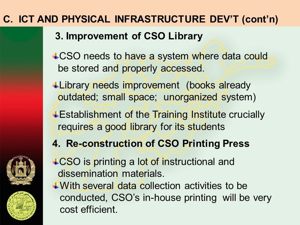 3. Improvement of CSO Library CSO needs to have a system where data could be stored and properly accessed. Library needs improvement (books already ou