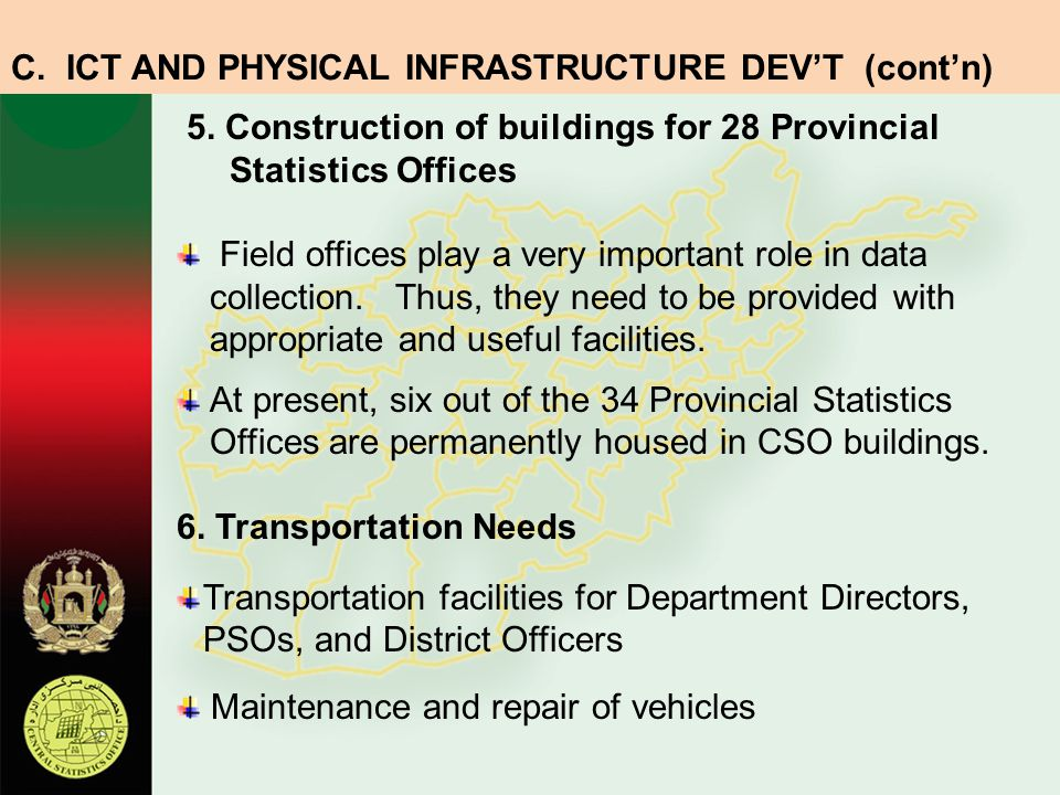5. Construction of buildings for 28 Provincial Statistics Offices Field offices play a very important role in data collection. Thus, they need to be p