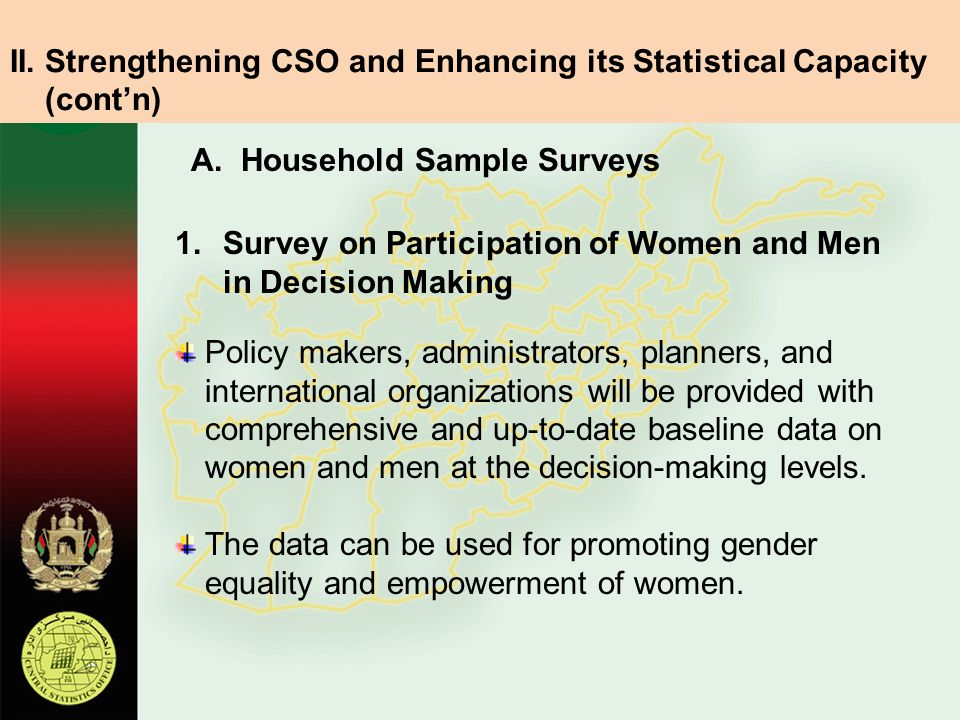 A. Household Sample Surveys 1.Survey on Participation of Women and Men in Decision Making Policy makers, administrators, planners, and international o