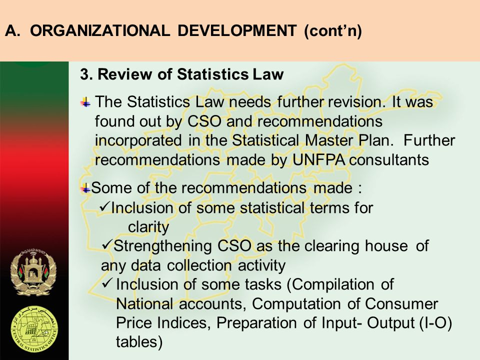 3.Review of Statistics Law The Statistics Law needs further revision.