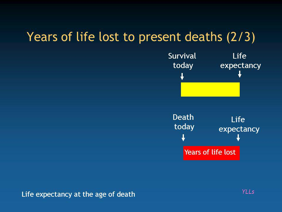 Life expectancy Death today Life expectancy Years of life lost Years of life lost to present deaths (2/3) Survival today YLLs Life expectancy at the age of death