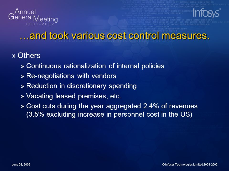 June 08, 2002© Infosys Technologies Limited 2001-2002 …and took various cost control measures. »Others »Continuous rationalization of internal policie
