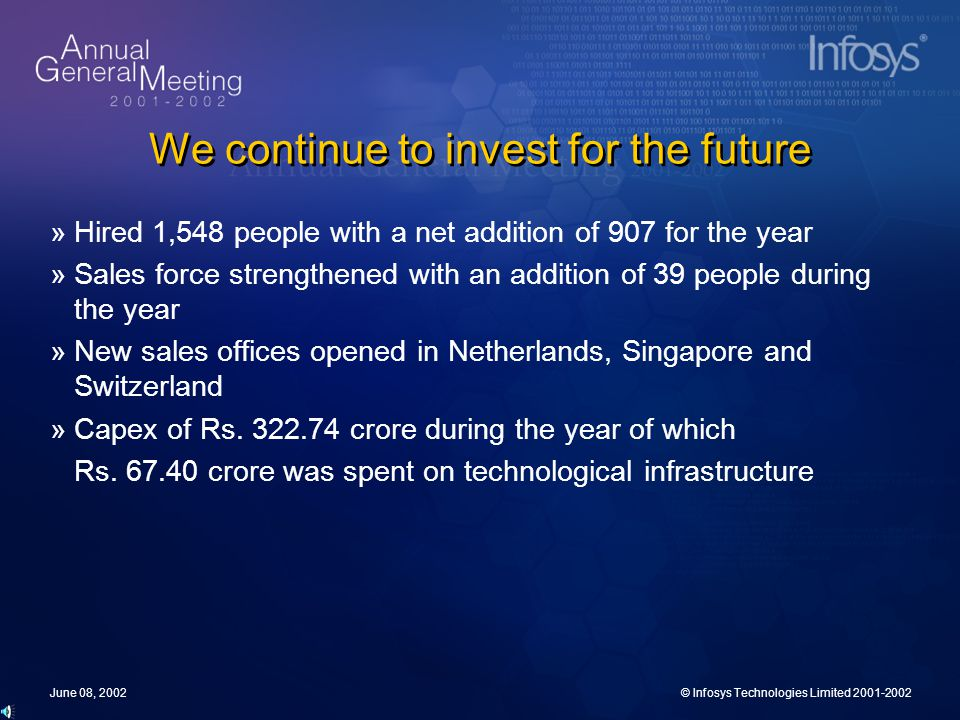 June 08, 2002© Infosys Technologies Limited 2001-2002 We continue to invest for the future »Hired 1,548 people with a net addition of 907 for the year