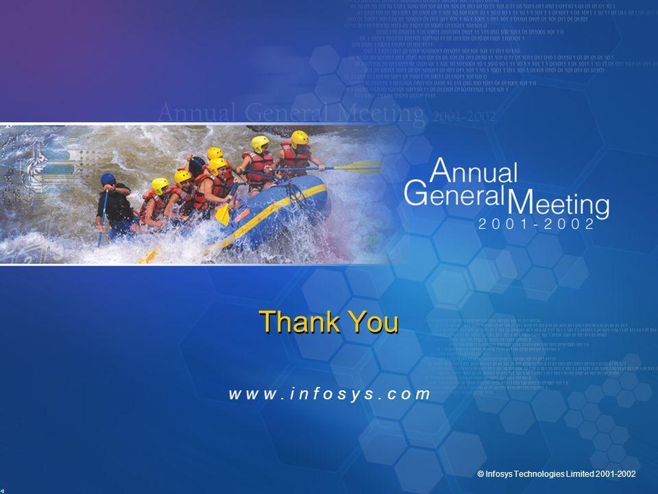 © Infosys Technologies Limited 2001-2002 Thank You w w w. i n f o s y s. c o m