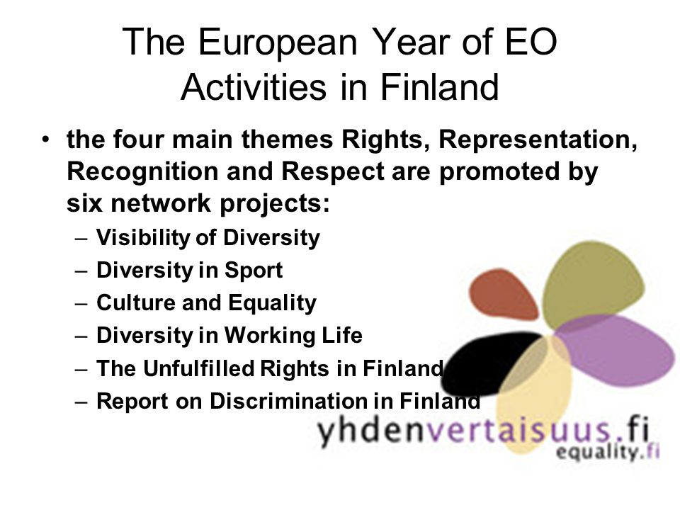 The European Year of EO Activities in Finland the four main themes Rights, Representation, Recognition and Respect are promoted by six network projects: –Visibility of Diversity –Diversity in Sport –Culture and Equality –Diversity in Working Life –The Unfulfilled Rights in Finland –Report on Discrimination in Finland