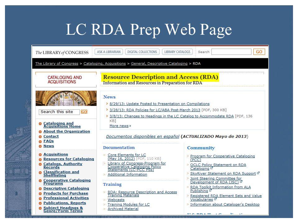 LC RDA Prep Web Page