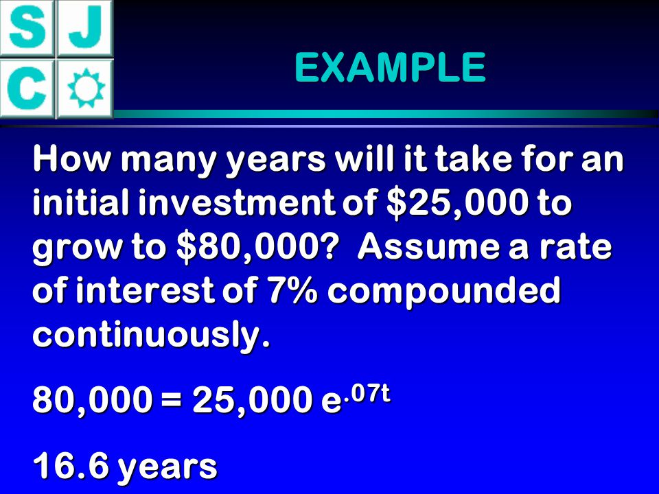 EXAMPLE How many years will it take for an initial investment of $25,000 to grow to $80,000? Assume a rate of interest of 7% compounded continuously.