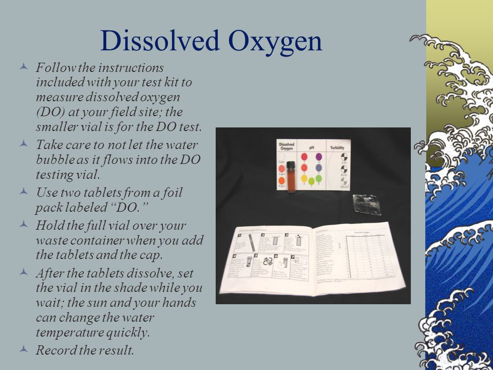 Dissolved Oxygen Follow the instructions included with your test kit to measure dissolved oxygen (DO) at your field site; the smaller vial is for the