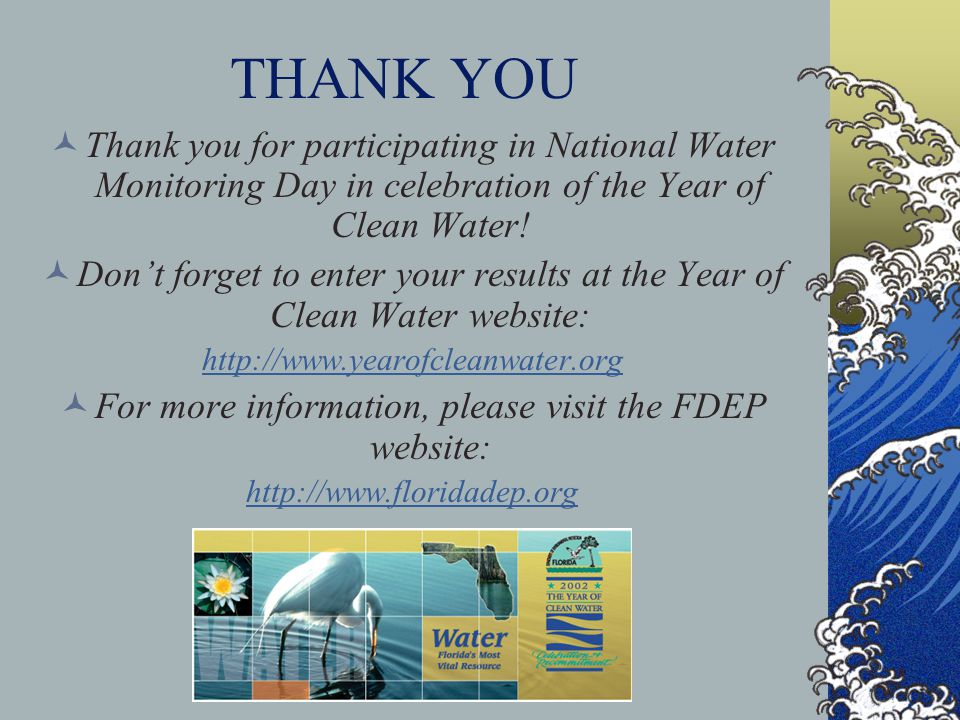 THANK YOU Thank you for participating in National Water Monitoring Day in celebration of the Year of Clean Water! Dont forget to enter your results at