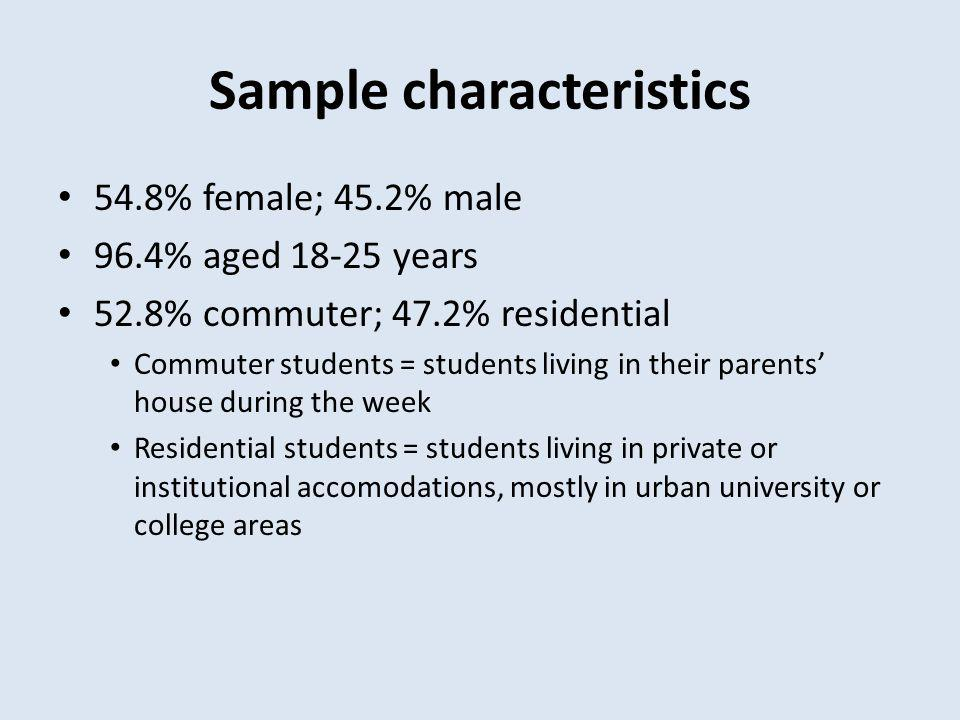 Sample characteristics 54.8% female; 45.2% male 96.4% aged 18-25 years 52.8% commuter; 47.2% residential Commuter students = students living in their