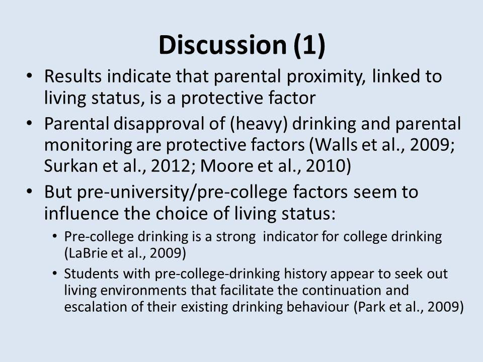Discussion (1) Results indicate that parental proximity, linked to living status, is a protective factor Parental disapproval of (heavy) drinking and parental monitoring are protective factors (Walls et al., 2009; Surkan et al., 2012; Moore et al., 2010) But pre-university/pre-college factors seem to influence the choice of living status: Pre-college drinking is a strong indicator for college drinking (LaBrie et al., 2009) Students with pre-college-drinking history appear to seek out living environments that facilitate the continuation and escalation of their existing drinking behaviour (Park et al., 2009)