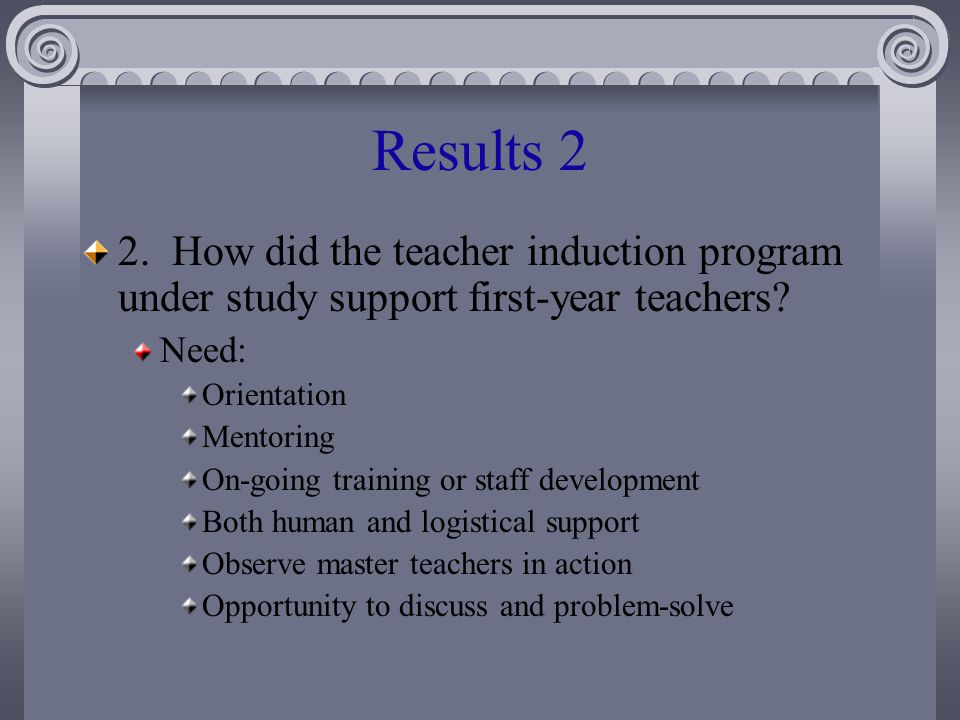 Results 2 2. How did the teacher induction program under study support first-year teachers.