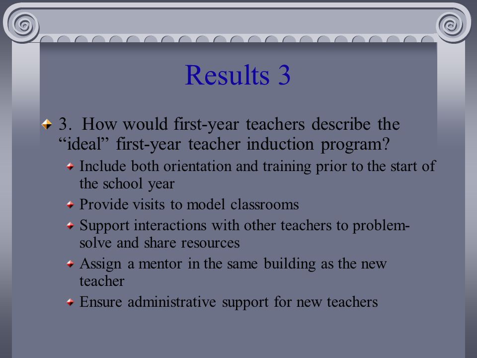 Results 3 3. How would first-year teachers describe the ideal first-year teacher induction program.