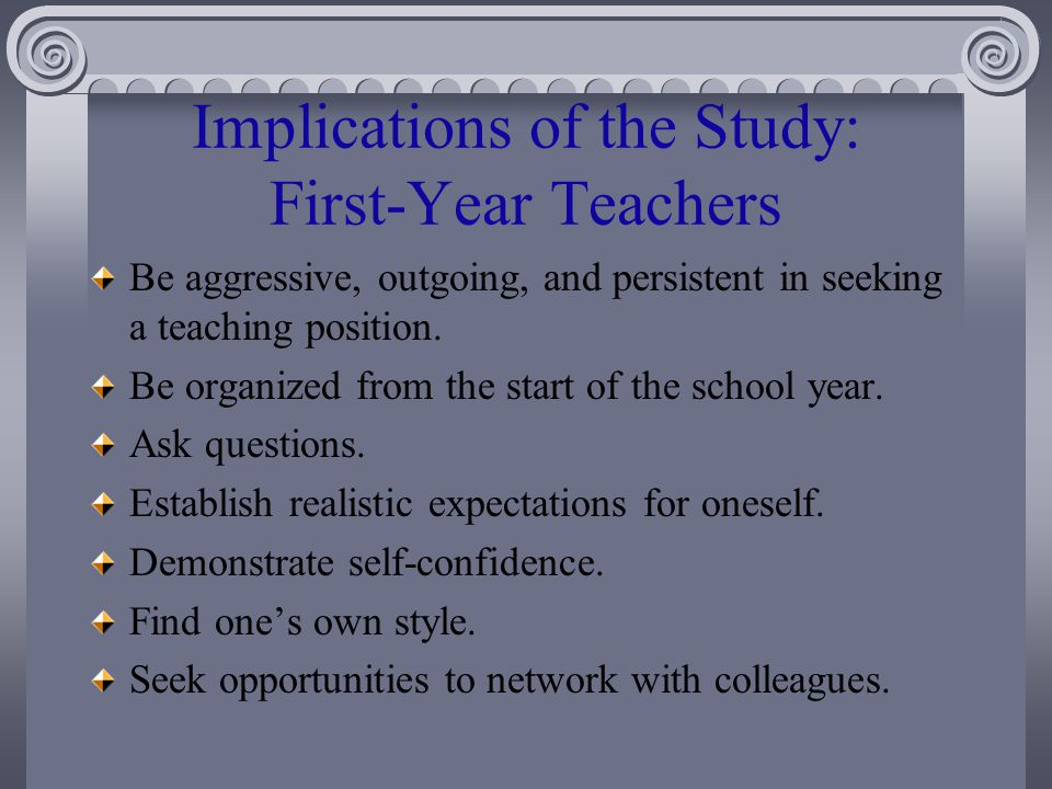 Implications of the Study: First-Year Teachers Be aggressive, outgoing, and persistent in seeking a teaching position.