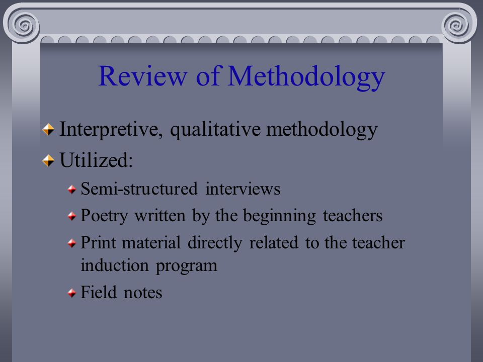 Review of Methodology Interpretive, qualitative methodology Utilized: Semi-structured interviews Poetry written by the beginning teachers Print material directly related to the teacher induction program Field notes