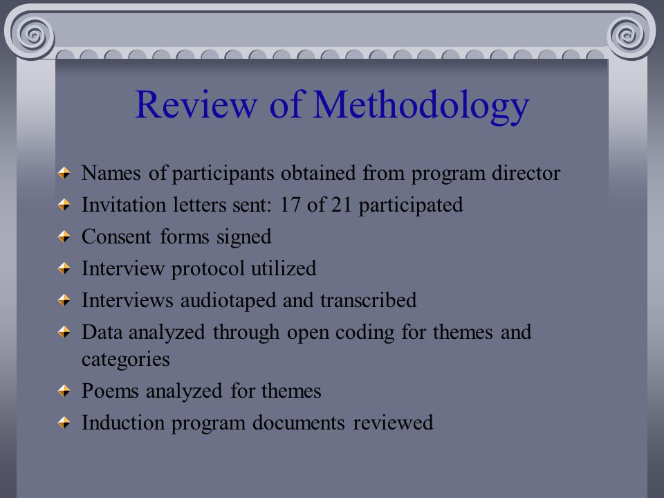 Review of Methodology Names of participants obtained from program director Invitation letters sent: 17 of 21 participated Consent forms signed Interview protocol utilized Interviews audiotaped and transcribed Data analyzed through open coding for themes and categories Poems analyzed for themes Induction program documents reviewed