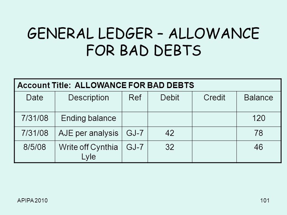 APIPA 2010101 GENERAL LEDGER – ALLOWANCE FOR BAD DEBTS Account Title: ALLOWANCE FOR BAD DEBTS DateDescriptionRefDebitCreditBalance 7/31/08Ending balance120 7/31/08AJE per analysisGJ-74278 8/5/08Write off Cynthia Lyle GJ-73246