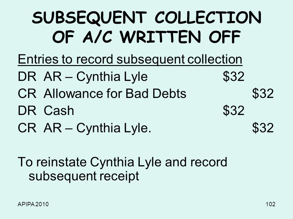 APIPA 2010102 SUBSEQUENT COLLECTION OF A/C WRITTEN OFF Entries to record subsequent collection DR AR – Cynthia Lyle$32 CR Allowance for Bad Debts $32