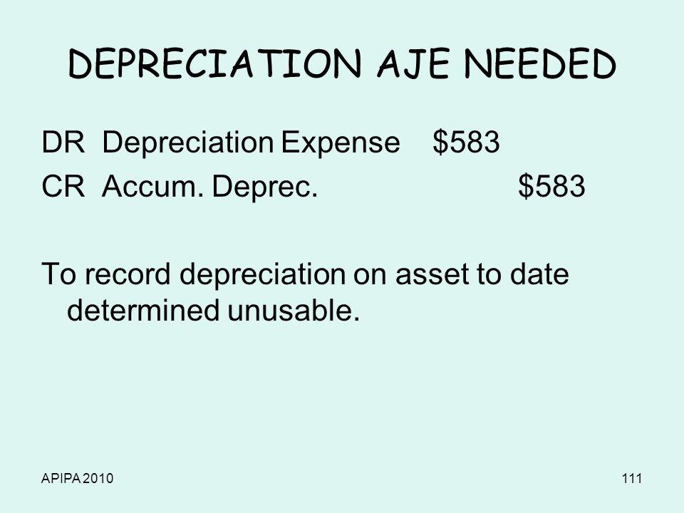 APIPA 2010111 DEPRECIATION AJE NEEDED DR Depreciation Expense $583 CR Accum.