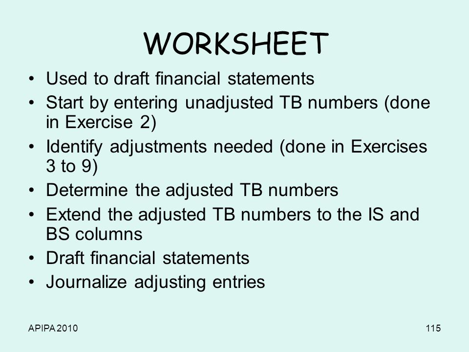 APIPA 2010115 WORKSHEET Used to draft financial statements Start by entering unadjusted TB numbers (done in Exercise 2) Identify adjustments needed (d