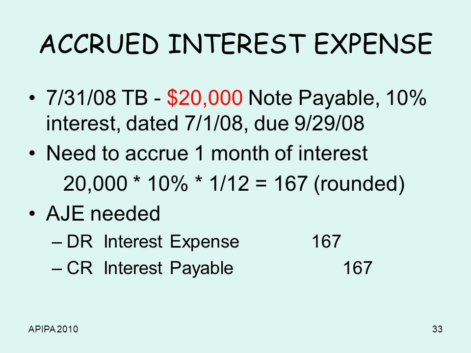 APIPA 201033 ACCRUED INTEREST EXPENSE 7/31/08 TB - $20,000 Note Payable, 10% interest, dated 7/1/08, due 9/29/08 Need to accrue 1 month of interest 20