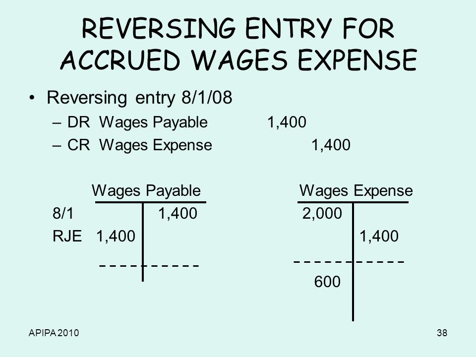 APIPA 201038 REVERSING ENTRY FOR ACCRUED WAGES EXPENSE Reversing entry 8/1/08 –DR Wages Payable1,400 –CR Wages Expense 1,400 Wages Payable Wages Expen