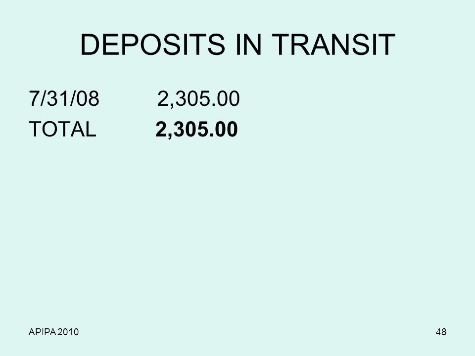 APIPA 201048 DEPOSITS IN TRANSIT 7/31/08 2,305.00 TOTAL 2,305.00
