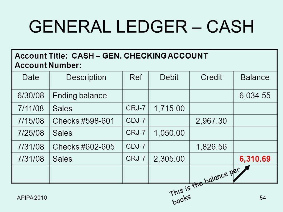 APIPA 201054 GENERAL LEDGER – CASH Account Title: CASH – GEN.