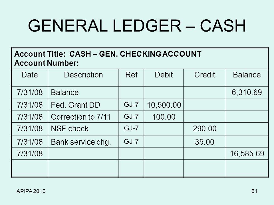 APIPA 201061 GENERAL LEDGER – CASH Account Title: CASH – GEN.