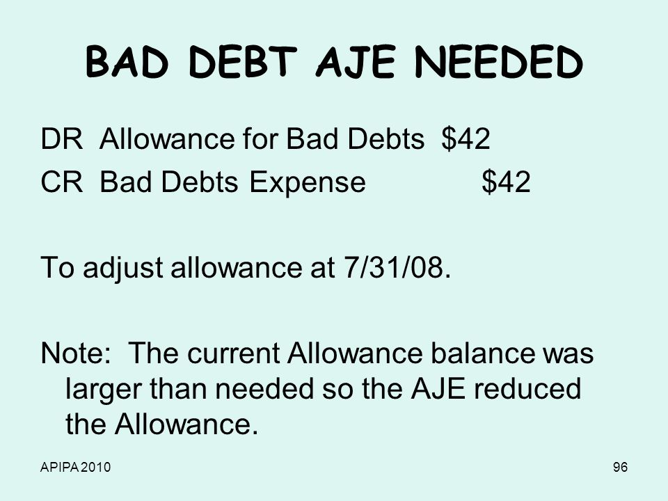 APIPA 201096 BAD DEBT AJE NEEDED DR Allowance for Bad Debts $42 CR Bad Debts Expense $42 To adjust allowance at 7/31/08. Note: The current Allowance b