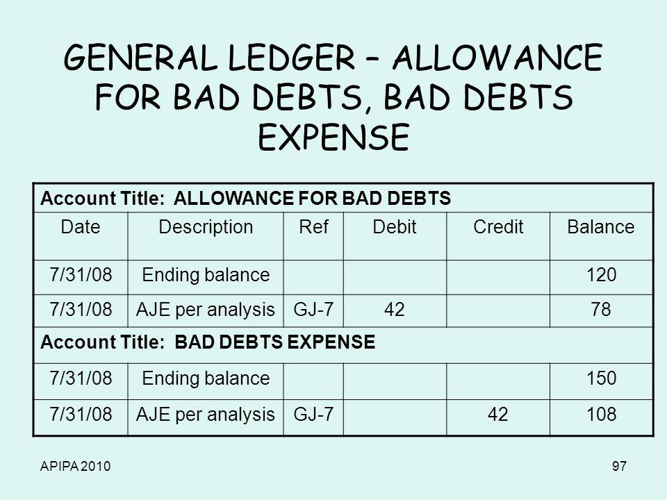 APIPA 201097 GENERAL LEDGER – ALLOWANCE FOR BAD DEBTS, BAD DEBTS EXPENSE Account Title: ALLOWANCE FOR BAD DEBTS DateDescriptionRefDebitCreditBalance 7/31/08Ending balance120 7/31/08AJE per analysisGJ-74278 Account Title: BAD DEBTS EXPENSE 7/31/08Ending balance150 7/31/08AJE per analysisGJ-742108