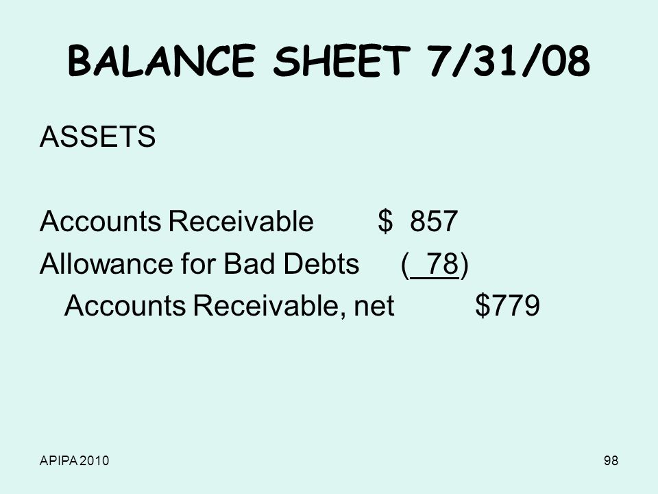 APIPA 201098 BALANCE SHEET 7/31/08 ASSETS Accounts Receivable $ 857 Allowance for Bad Debts ( 78) Accounts Receivable, net $779