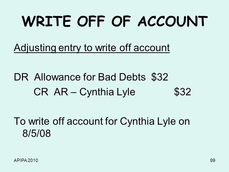 APIPA 201099 WRITE OFF OF ACCOUNT Adjusting entry to write off account DR Allowance for Bad Debts $32 CR AR – Cynthia Lyle $32 To write off account fo