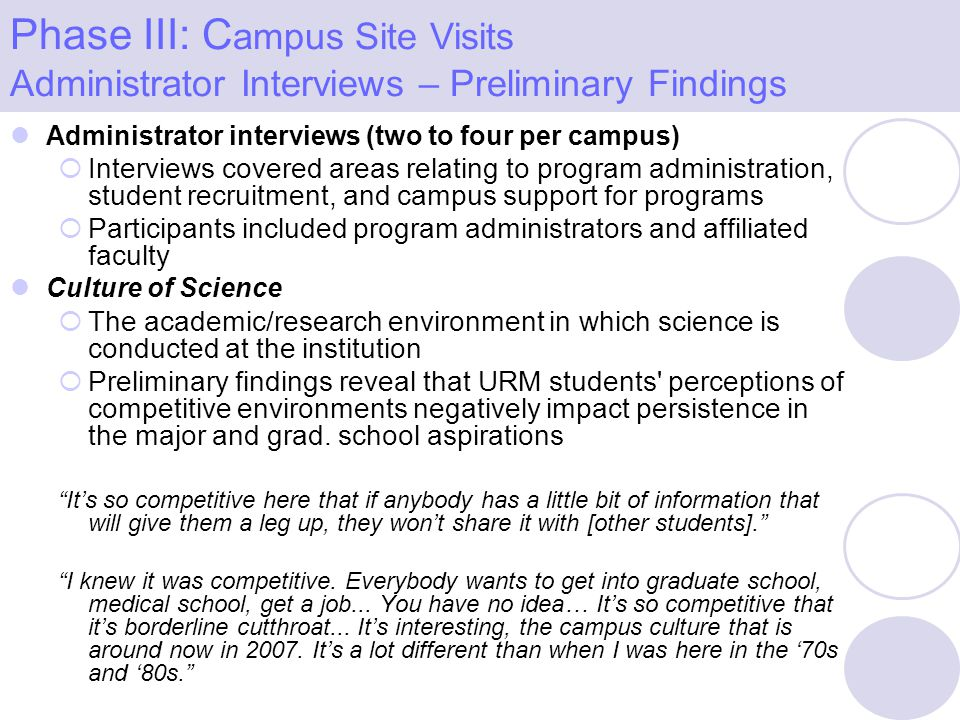 Administrator interviews (two to four per campus) Interviews covered areas relating to program administration, student recruitment, and campus support