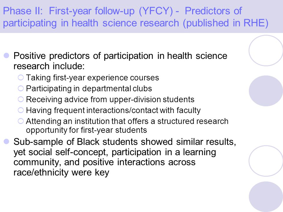Positive predictors of participation in health science research include: Taking first-year experience courses Participating in departmental clubs Rece