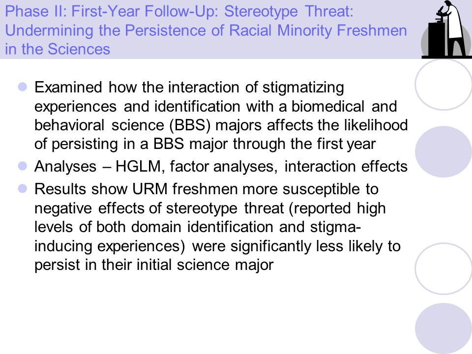 Phase II: First-Year Follow-Up: Stereotype Threat: Undermining the Persistence of Racial Minority Freshmen in the Sciences Examined how the interactio