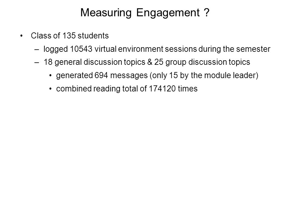 Measuring Engagement .