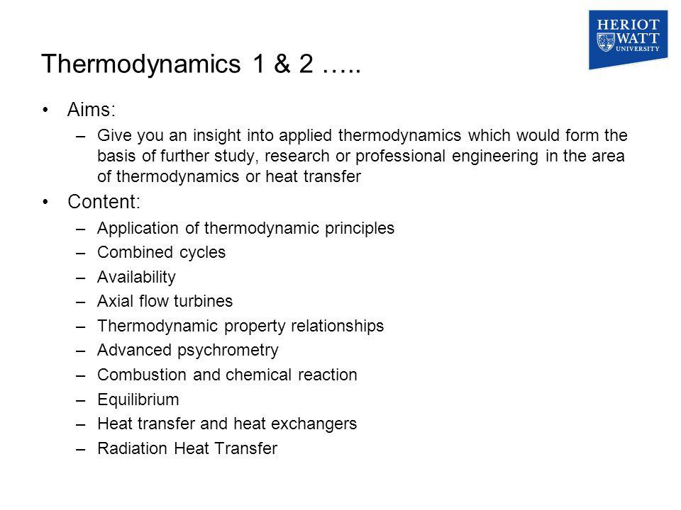 Thermodynamics 1 & 2 …..