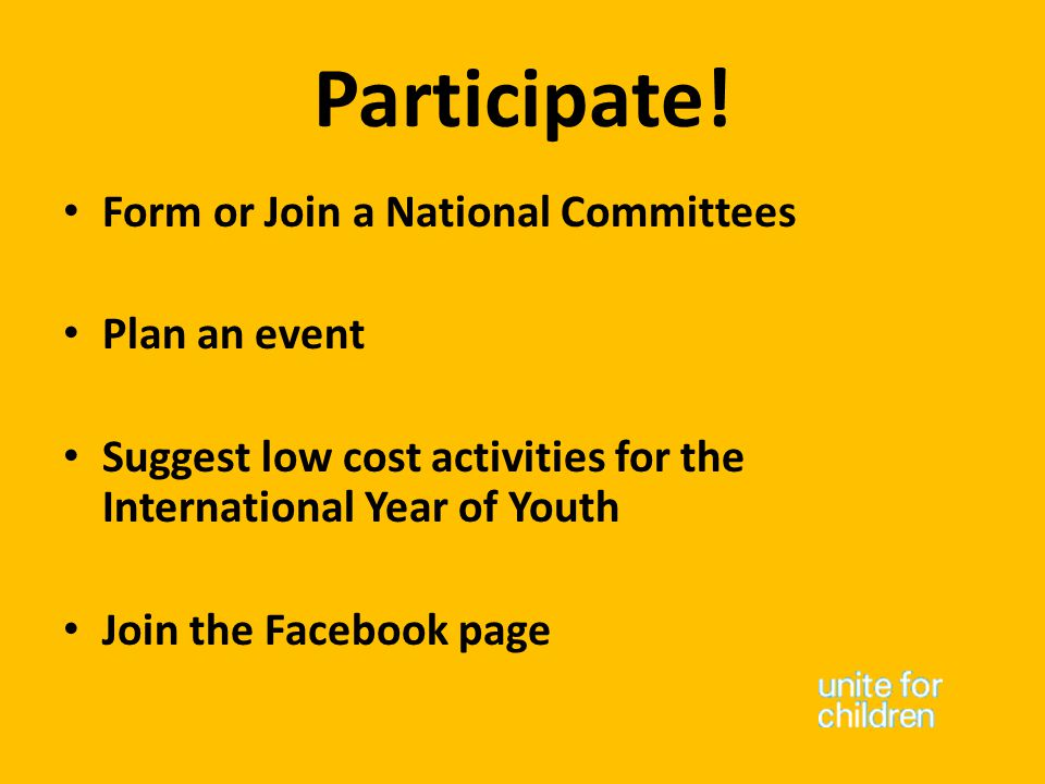 Participate! Form or Join a National Committees Plan an event Suggest low cost activities for the International Year of Youth Join the Facebook page