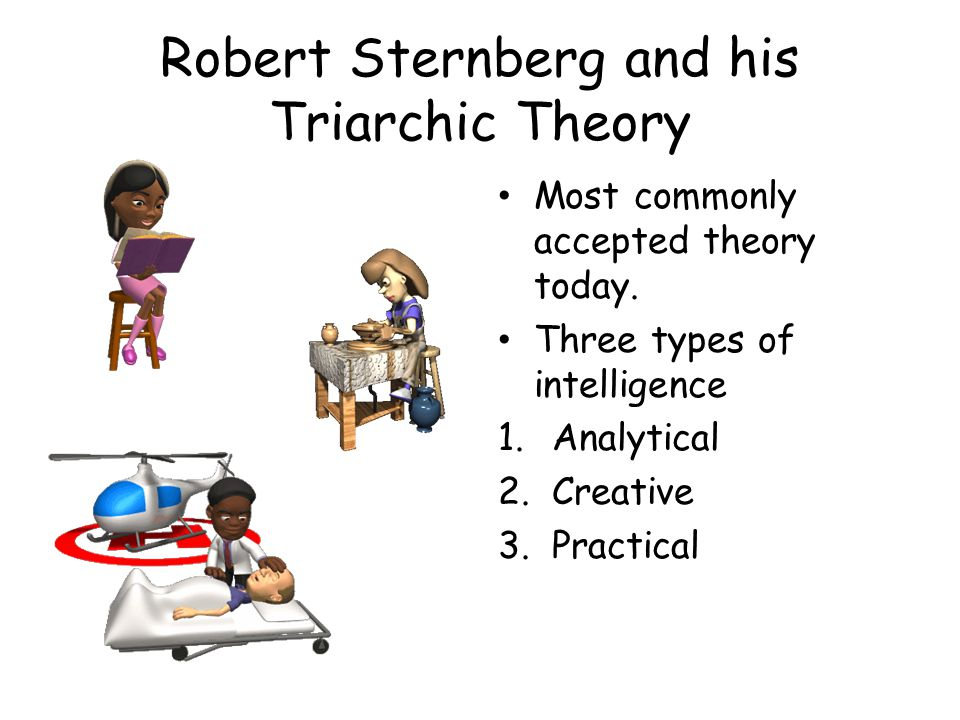 Robert Sternberg and his Triarchic Theory Most commonly accepted theory today.