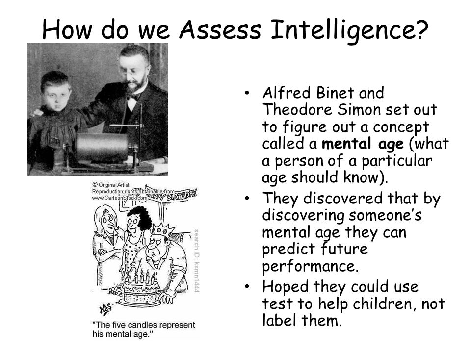 How do we Assess Intelligence? Alfred Binet and Theodore Simon set out to figure out a concept called a mental age (what a person of a particular age